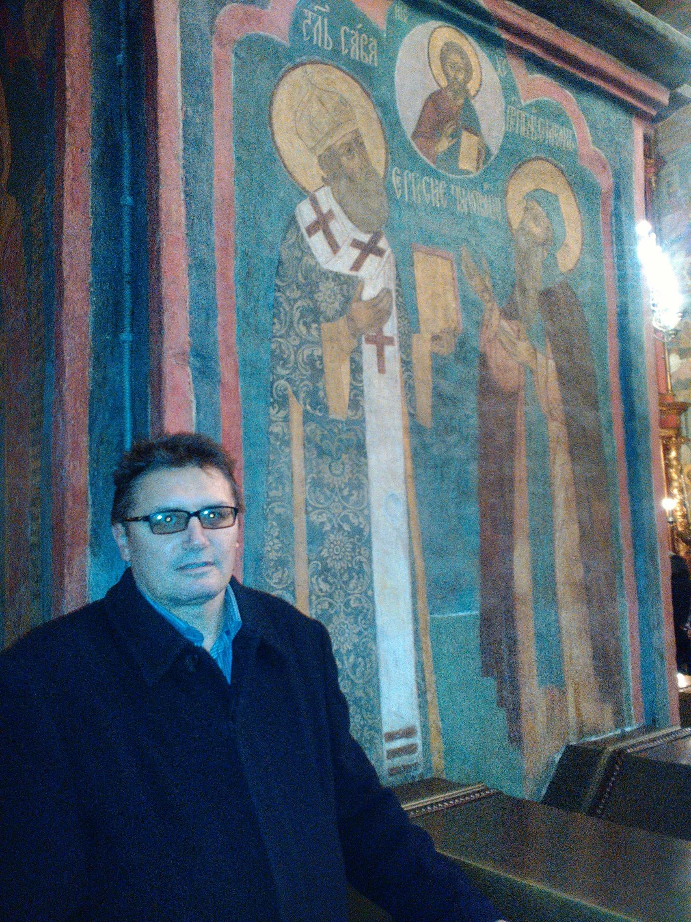 Фреска Светог Саве и Симеона Мироточивог у Архангелском храму Московског Кремља